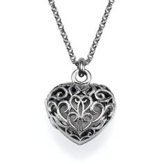 My Only One Filigree Heart Locket Necklace found on Polyvore featuring jewelry necklaces grey sterling silver locket heart locket grey pearl necklace heart shaped locket and cross necklace