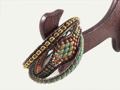 Leather Wrap Bracelet Beaded Wrap 3 Row Wrap Bracelet | Etsy