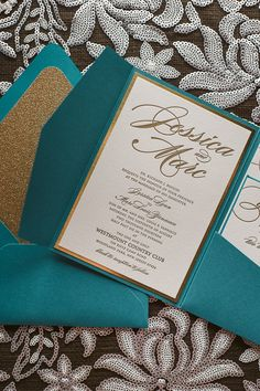 LAUREN Suite Glitter Pocket Fold Package, gold and teal. peacock wedding invitations, letterpress wedding invitations, pocket fold wedding invitations, gold glitter, glitter wedding