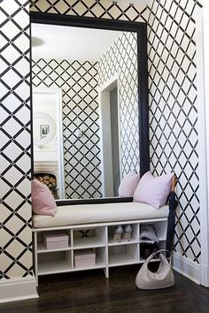 nook and wallpaper, black and white, bench, bench cushion, entrance, entrance hall, entry, entryway, entry way, foyer, front hall, front door, mudroom, mud room, hall, hallway, stair hall, hallway, stairwell, staircase, stairs, interior design, #interiors, #home, #decorate