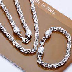 Sterling Silver 925 Necklace And Bracelet Set Silver Bangle Bracelets, Bracelets For Men, Bracelet Set, Jewelry Bracelets, Jewelry Sets, Jewelry Accessories, Women Jewelry, Engagement Jewelry, Sterling Silver Necklaces