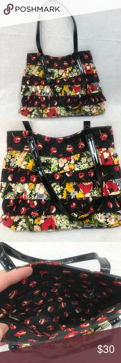 "Vera Bradley Small Floral Ruffle Purse Satchel Vera Bradley  Floral Ruffle Purse 11"" Length, 3"" width, 9"" height  Excellent condition   Shop my closet for Women's and Children's Fashion.   Shop @mensstylehouse for top brand men's fashion. Vera Bradley Bags Satchels"