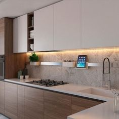 Contemporary style kitchen designs are among the methods to go. Kitchen Room Design, Kitchen Cabinet Design, Modern Kitchen Design, Kitchen Layout, Home Decor Kitchen, Interior Design Kitchen, Kitchen Furniture, Home Kitchens, Contemporary Kitchen Cabinets