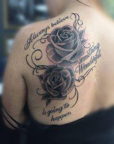 354f697366a60 rose tattoo and script by Greg holytrinitytattoos@gmail.com #tattoo  #tattooart #