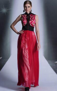 ネックラインが美しい☆ アジアンテイストなロングドレス♪ - ロングドレス・パーティードレスはGN 演奏会や結婚式に大活躍!