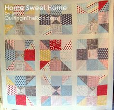 Home Sweet Home Nine Patch Throw (Charm Squares) | FaveQuilts.com