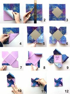 How to make origami easy - over 100 origami tutorials for . Informations About Wie man Origami ein Origami Diy, Origami Cards, Origami Ball, How To Make Origami, Origami Tutorial, Origami Paper, Diy Paper, Paper Art, Paper Crafting