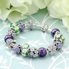 1259-PANDORA Spring's in Bloom Charm Bracelet - Pancharmbracelets.com