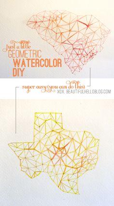 geometric jewel watercolor DIY.