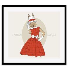 Whimsical Animals - Lizzie, Framed Print, 40x40cm