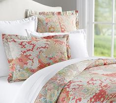 Bought this pillow case and coordinated other bedding and curtains around this for E. Gemma Rose Reversible Duvet Cover & Shams #potterybarn
