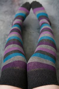 Foot Traffic multi-striped knee socks in Peacock at Sock Dreams, $8.00 #clothing #socks
