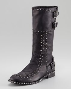 Retro #Rivets Knee #High #Boots With #Buckle