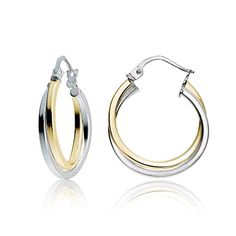 058f0a506 Mondevio Sterling Silver Intertwining Square-Tube Polished Hoop Earrings,  (Rose Gold Two-tone), Size: Medium, Pink