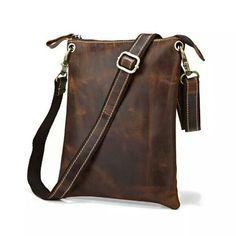 Leather Family — Genuine Cow Leather Vintage Handmade iPad Bag Iphone Bag  Messenger Bag in Dark Brown 6935035864