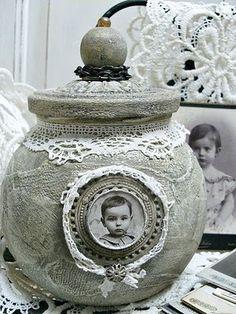 Shabby Chic Inspired: crafty storage, altered ginger jar
