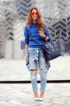 Bring on the casual chic with a jumper, jeans, and plaid shirt