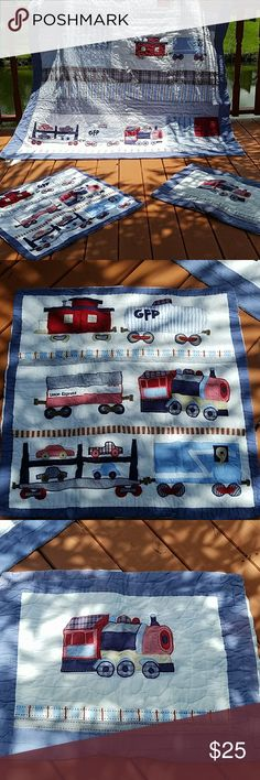 TRAINS POTTERY BARN CHILDREN QUILT SET Very beautiful quilt with trains. Perfect for train lovers. The set is well maintained. It has a small dull oil stain mark at the end of the quilt...not at all noticeable. The standard sham looks great but the blue around seems a bit faded...but overall it looks good... POTTERY BARN Other