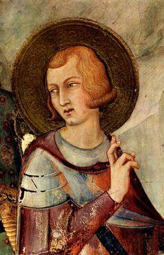 Simone Martini (1285 -1344) - Saint Martin Renounces His Weapons,detail -1312/17. Fresco, 265 x 230 cm. Cappella di San Martino, Lower Church, San Francesco, Assisi.