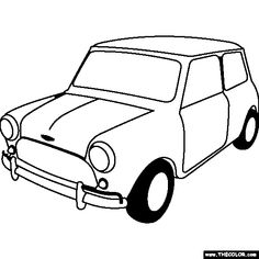 Simple car transportation coloring pages for kids