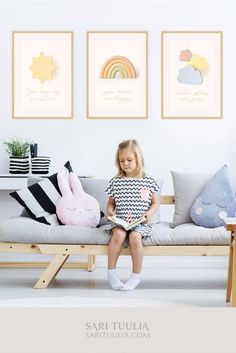This rainbow nursery wall art set of 3 prints with 'You are my sunshine' lyrics is guaranteed to bring colorful delightfulness into your nursery or kids' room! The Museum-quality print set featuring a sun, rainbow, and clouds will compliment any nursery decor beautifully and make a perfect gift for that special little one! ✦ Pin to save later or click to shop now! ✦  #nurseryprint #nurserywallart #rainbowprint #rainbowart #rainbowprintset