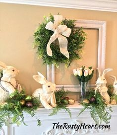 Easter Egg Decorating Ideas for Your Mantel Easter Table, Easter Party, Hoppy Easter, Easter Eggs, Easter Bunny, Easter Crafts, Easter Decor, Easter Ideas, Diy Ostern