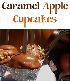 Caramel Apple Cupcakes Recipe! These tasty little treats will be perfect for your Fall Parties! #cupcake #recipes