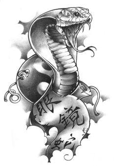 Black Outline Cobra Tattoo Design photo - 5