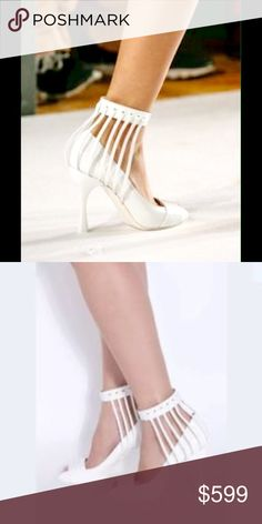 """MISSONI white leather cage heels. NIB. Size 39 EU Fancy pumps by MISSONI. In white leather, """"cage"""" effect detail on ankle with leather straps and elastic ankle. Heel 10 cm. Size 39 EU, ankle circumference 27 cm. Box included. MISSONI Shoes Heels"""