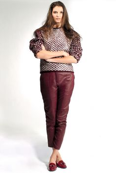 Fall 2012 Trend: Fine Wine  (Alexander Wang's lacquered hand-knit wool sweater Yigal Azrouël's leather pants and Gianvito Rossi's loafers). #trend