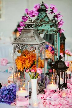 Learn How You Can Put Together The Perfect Wedding Floral Arrangements And Save Money Plus 45 Romantic Floral Inspiration save money on wedding, frugal wedding ideas Lantern Centerpiece Wedding, Wedding Lanterns, Wedding Centerpieces, Wedding Decorations, Centerpiece Ideas, Flower Centerpieces, Colorful Centerpieces, Chic Wedding, Wedding Table