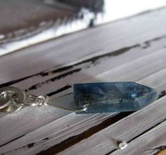 Kyanite Talisman Necklace Lariat by HotRoxCustomJewelry on Etsy, $75.00