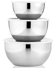 macys.com: Martha Stewart Collection Covered Mixing Bowls, Set of 3 Stainless Steel (643497) $29.99