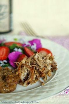 Cider braised pulled rhubarb pork with wild summer salad, #pulledpork, #salad, #partyfood, #rhubarb