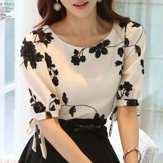 Women-Shirt-Summer-Tops-Floral-Black-White-Embroidered-Chiffon-Blouses-Plus-Size-Bow-Half-Sleeve-Shirt Long Sleeve, Blouse, Sleeves, Tops, Fashion, Blouse Band, Moda, Fasion, Tank Tops