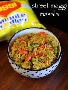 maggi noodles recipe | maggi masala noodles | maggi recipes Gourmet Recipes, Beef Recipes, Vegetarian Recipes, Healthy Recipes, Fast Recipes, Maggi Masala, Maggi Recipes, Lactose Free Recipes, Indian Street Food