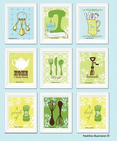 Kitchen Wall Art - Set of 9 - 8x10 Art Prints - Mixer, Teapot, Salt and Pepper, Utensils