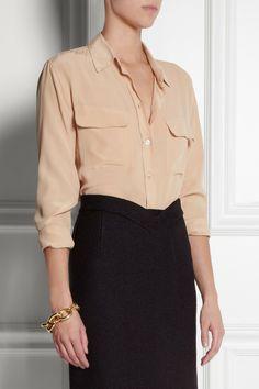 Equipment washed silk shirt. - silk shirt, black pencil skirt