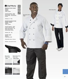 Double breasted chef coat by ChefWorks. Black French cuffs and collar.