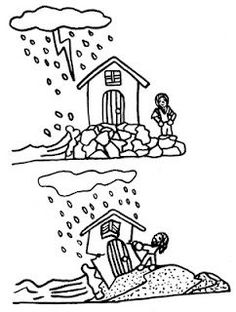 Wise and Foolish Builders Coloring Page - 12 Wise and Foolish Builders Coloring Page, Wise Man Foolish Man Coloring Page Lots Of Pages Lds Coloring Pages, Printable Coloring Pages, Coloring Sheets, Coloring Books, Church Activities, Bible Activities, Sunday School Lessons, Sunday School Crafts, Parables Of Jesus