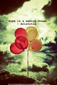 """Hope is a waking dream."" ~ Aristotle ~"