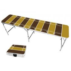 Gold & Brown Football Field 8 Foot Portable Folding Tailgate Beer Pong Table from TailgateGiant.com