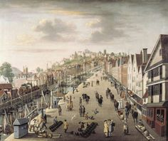 Bristol, Broadquay. One of very few views of the port before the creation of the Floating Harbour. This painting, attributed to Philip van Dyke, shows the main quayside of the thriving port in about 1760.