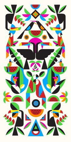 Malika Favre / tropical birds / pattern / design / animals / shapes and shading / bold colors / toucan