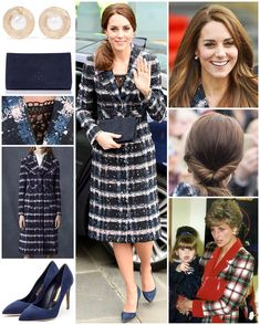 10/14/16 ♛ Official Visit to Manchester - MANCHESTER 14 October - WKW ♥ Erdem Speckled Plaid Coat ♥ Rupert Sanderson 'Malory' Pumps in Navy ($675) ♥ LK Bennett 'Frome' Suede Clutch ($310) ♥ Oscar de la Renta Hammered Plated Gold Faux Pearl Earrings ($190) ♥ Cartier 'Ballon Bleu de Cartier' Stainless Steel Watch ($5750) ♥