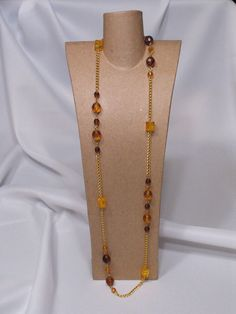 Gold and brown beaded necklace by AJLdesigns on Etsy, $11.75
