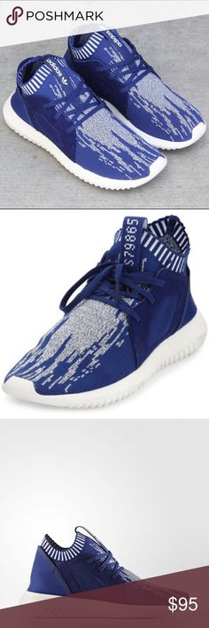 New Adidas Blue Primeknit Tubular Sneakers Size 6.5. Fits like a 7.5! Brand new/never worn other than to try on inside the house. Adidas Shoes Athletic Shoes