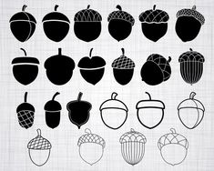 Check out our acorn selection for the very best in unique or custom, handmade pieces from our necklaces shops. Acorn Drawing, Acorn Tattoo, Acorn And Oak, Silhouette Studio Designer Edition, Vinyl Cutting, Doodle Art, Cutting Files, Coloring Pages, Cricut