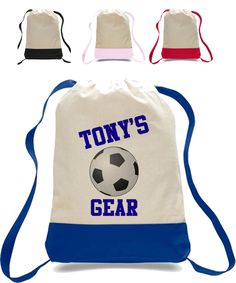 School Gym bag - Soccer totebag - closure Totebag Backpack personalized with name - Soccer Player clothing bag - Sports totebag Personalized Backpack, Personalized Pillow Cases, Custom Tees, Custom Made T Shirts, Tote Bag, Backpack Bags, Drawstring Backpack, Soccer Players, Cloth Bags