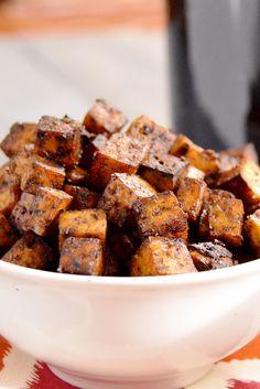 The BEST Balsamic Tofu - super easy, crispy tofu baked not fried. Super healthy!